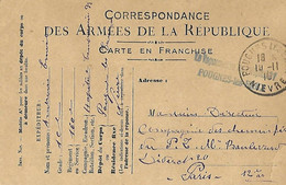 FRANCE - POUGUES LES EAUX - Carte Franchise Armées Marque Linéaire Erronée Le Vaguemestre Hôpital 31 POUGNES Les EAUX - 1877-1920: Semi Modern Period