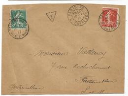 SEMEUSE 5C SURCHARGE T UTILISATION TIMBRE TAXE FONTAINEBLEAU 11.1.1917 LETTRE DE PARIS SEMEUSE 10C 10.1.1917 - 1906-38 Semeuse Camée