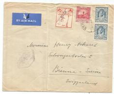 TRANSJORDAN 10M+20MX2 + VIGNETTE LETTRE MANQUE UN RABAT AIR MAIL OMAN 1948 TO SUISSE + BEYROUTH LEBANON AU DOS - Jordanie