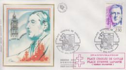 Enveloppe  FDC  FRANCE   Inauguration    Place    Général   DE   GAULLE    OYE   PLAGE    1990 - De Gaulle (Generaal)