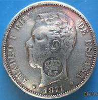 Copie, Açores, 1200 Reis Contremarque GP Sur 5 Pesetas, Amadeo I, 1871, (nd) 1887, TTB - Azores