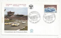 FDC , Premier Jour , Cinquentenaire Des 24 Heures DU MANS , 72 ,LE MANS ,1973, Frais Fr 1.45 E - 1970-1979