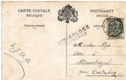 Griffe D'origine ZEE-BRUGGE (CENTRE) Sur CV Vers Nederockerzeel - Oblitération Brugge (Station) - Linear Postmarks