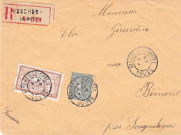 Lettre Recommandée 2e éch Fesches-le-Châtel 4 9 1911 Pour Bémont Suisse Affranchie à 65c Au Lieu De 45c - 1877-1920: Semi-Moderne