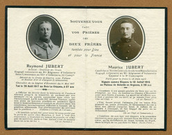 DEUX FRERES : Raymond Et Maurice JUBERT - IMAGE RELIGIEUSE MILITAIRE  1915/17 - Documents