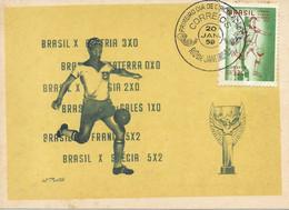 CARTE MAXIMUM - MAXICARD- MAXIMUM KARTE- MAXIMUM CARD - BRÉSIL / BRASIL CHAMPION DU MONDE DE FOOTBALL (1958) - 1958 – Zweden