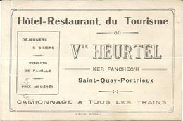 HOTEL RESTAURANT DU TOURISTE . ST QUAI PORTRIEUX . NOTE DERRIERE - Pubblicitari