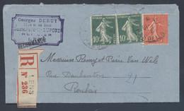 159 204 Semeuse Tarif 1.05F Recommandé Lens Pas De Calais 1925 Variété Jour Mois Renversés Deruy Huissier > Roubaix - Posttarieven