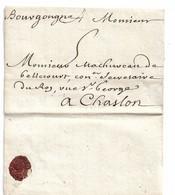 Lyon 1706. Lettre Adresée à M. Machurcau De Bellecourt à Chaslon - Manoscritti