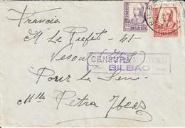 Espagne Lettre Censurée Bilbao Pour La France 1937 - 1931-50 Cartas