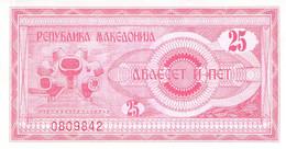 25 Dinar Banknote Mazedonien 1992 UNC - Macedonië
