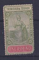 Trinidad & Tobago: 1921/22   Britannia     SG215    £1    MH / Used? - Trinidad & Tobago (...-1961)