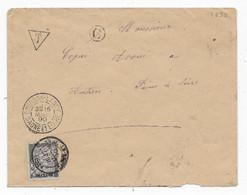 Département De SAONE ET LOIRE Lettre  BOURBON LANCY   Cad AUTUN Sur Timbre Taxe N° 18  1890 - 1877-1920: Semi Modern Period