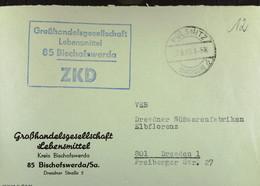 """Fern-Brief Mit ZKD-Kastenstpl. """"Großhandelsgesellschaft Lebensmittel 85 Bischofswerda"""" 27.8.65 An VEB Elbflorenz Dresden - Service"""