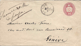 SAXON 1868, Sur Tüblibrief Lettre Entier Postal Pour Genève. VALAIS WALLIS. Ambulant Genève Sion Au Verso (défaut). - Ganzsachen