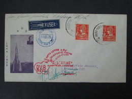 BELGIQUE Lettre 1936 Signée ROBERTI Vol Fusée ALBERTINE RV8 ALBERT PLAGE HEYST Timbre ROCKET MAIL Belgium Stamp Cover - Airmail