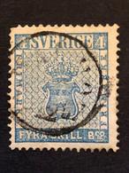 Sweden 1855  4 Skilling Blue FU  SG 2   CV £75 - Gebruikt
