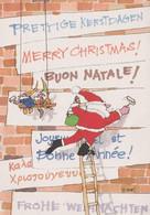 PUBLICITE UNICEF Echafaudage De Roland Harvey ; Père Noël, Bonne Année, Lutins - Reclame