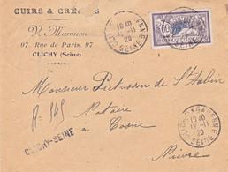 60c Merson Seul Sur Recommandé Provisoire De Clichy 18 11 1920 Pour Cosne - 1877-1920: Semi-Moderne