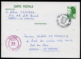 Entier-Postal, Oblitération Militaire US NAVY / Port Du Havre  USS / IOWA - Correo Naval