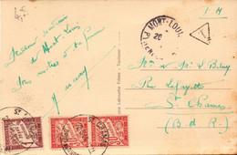 Lettre, Carte Franchise Militaire, Mont Louis, Pyrenees Pour St Chamas, Bouches Du Rhone + Taxe, 1941   (bon Etat) - Military Service Stampless