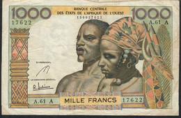 W.A.S. IVORY COAST P103Ae 1000 FRANCS 1966 Signature 5      VF       N0 P.h. - Côte D'Ivoire