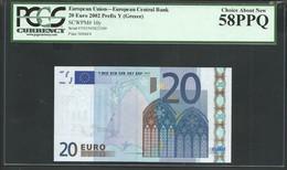 "Greece  ""Y""  20 EURO PCGS 58 PPQ (Perfect Papere Quality) CHOICE AUNC! TRICHET Signature Printer N006F4! - 20 Euro"