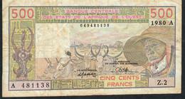 W.A.S. IVORY COAST P105Ab 500 FRANCS 1980      VF       N0 P.h. - Côte D'Ivoire
