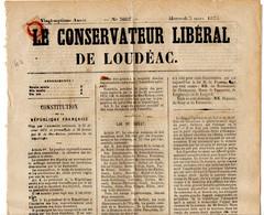 France Côtes Du Nord Loudéac N° 51  Annulation Typographique Sur Journal Du 3 Mars 1875 - 1849-1876: Periodo Clásico