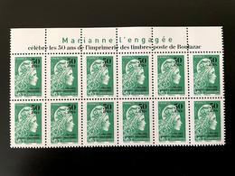 France 2020 Marianne L'Engagée Bloc De 12 HAUT Lettre Verte 20g Surchargée 50 Ans Gravés Dans L'Histoire Imprimerie - Nuovi