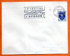 AVIGNON GARE X° FESTIVAL 1956 Lettre Entière N° JK 1 - Mechanical Postmarks (Advertisement)