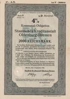 4% Kommunal-Obligation Der Staatlichen Kreditanstalt Oldenburg-Bremen RM 2000,- Bremen, Den 1.September 1941 - S - V