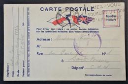 Carte De Franchise Militaire Illustrée Trois Drapeaux De Compagnie Radio 851/2 Vers Saint-Brieux 29 Juin 1940 - FM-Karten (Militärpost)