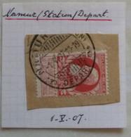 Belgique COB N°74 Oblit. à Pont Namur Station Départ Sur Fragment Et Seul ( 2 Scans ) - 1905 Grove Baard