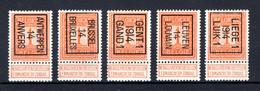PRE044B/048B MNH** 1914 - Typos 1912-14 (Lion)