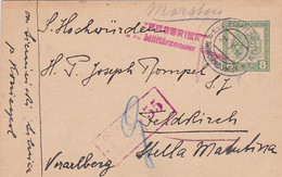 383-141  Karte Feldpost 21-1-1918 K.u.K. Etappenpostamt Noworadomsk A  *. Militärzensur. Im Rot: Feldkirch 55 - Covers & Documents