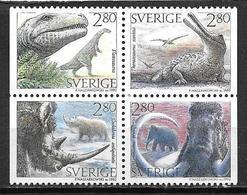 Suède 1992 N°1720/1723 Neufs Animaux Préhistorique - Unused Stamps