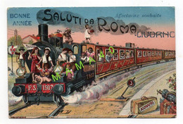CPA DE 1917 - BONNE ANNEE - SALUTI DA ROMA - LIVORNO - TRAIN AVEC DES BEBES A TOUTES LES FENETRES - Livorno