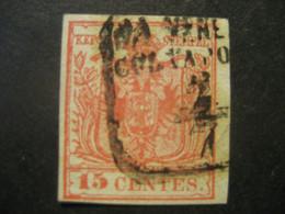 Österreich 1850/54- 15 Centesimi Wappenzeichnung Lombardei Venetien Mi.Nr. LV3 Seidenpapier 0,09 Mm Ungeprüft - Used Stamps