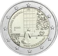 2020 Germany 2 Euro Speccial Coin 50 Years Of Warsaw Kneeing / Kniefall Von Warschau Used Mzz D (Prägestätte München) - Duitsland