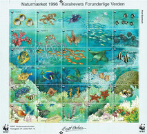 Denmark WWF 1996.  Sheet  With 30 Labels; Fauna And Flora.  Coral Reef's Marvelous World; MNH(**) - Non Classificati