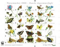 Denmark WWF 2000.  Sheet  With 30 Labels; Danish Butterflies; MNH(**). - Non Classificati