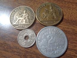 FRANCE LOT DE 4 MONNAIES: 2 FRANCS 1926, 1927, 1943B + 5 CENTIMES 1920 - Non Classificati
