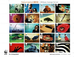 Denmark WWF 2010.  Sheet  With 20 Labels; Africa's Many Colors - Not Folded, MNH (**). - Non Classificati