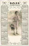 D2733 CALENDRIER ANNEE 1911 - PHOTO D'ENFANT - JEUNE GARCON TENANT DES FLEURS - Zonder Classificatie
