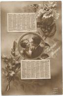 D2734 CALENDRIER ANNEE 1920 - PHOTO DE COUPLE DANS UN MEDAILLON PAR DESSUS DES FLEURS - Zonder Classificatie