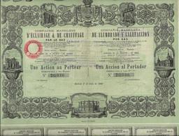 COMPAGNIE MADRILENE D'ECLAIRAGE ET DE CHAUFFAGE PAR LE GAZ - UNE ACTION REMBOURSABLE A 500 FRS - ANNEE 1880 - Elettricità & Gas
