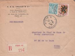 AFFRANCHISSEMENT COMPOSE SUR LETTRE RECOMMANDEE DE PARIS 83 1945 - 1921-1960: Periodo Moderno