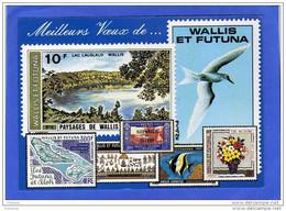 CARTE POSTALE -illustrée  Timbres Poste- Oblit Meilleurs Voeux De Wallis Cad Mata Utu 1991-offerte Par Timbroscopie - Covers & Documents