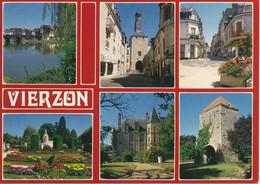 VIERZON (18.Cher) Multivues. Bords De L'Yèvre, Beffroi, Secteur Piétonnier, Monument Du Souvenir, Chateau De La Noue - Vierzon